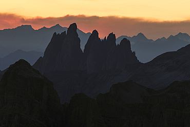 Sunset in the dolomites, seen from mount lagazuoi.  The Dolomites are listed as UNESCO World heritage. europe, central europe, italy