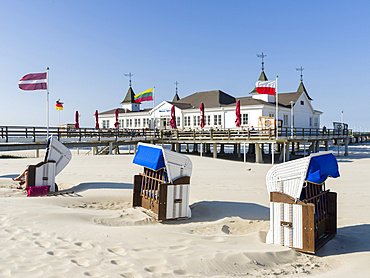 The famous pier in Ahlbeck, an iconic building in traditional german resort architecture  (Baederarchitektur) on the island of Usedom.  Europe,Germany, Mecklenburg-Western Pomerania, Usedom, June