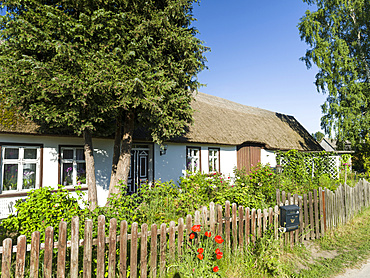 Traditional houses in the Usedomer Schweiz on the island of Usedom.   Europe,Germany, Mecklenburg-Western Pomerania, Usedom, June