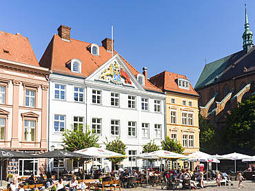 Buildings lining the Alte Markt (old market). The Hanseatic City Stralsund. The old town is listed as UNESCO World Heritage. Europe, Germany, West-Pomerania, June