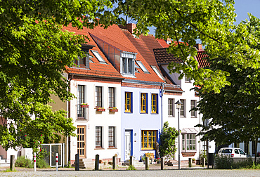 Traditional houses at the Alter Markt (old market square). The hanseatic city of Rostock at the coast of the german baltic sea.  Europe,Germany, Mecklenburg-Western Pomerania, June