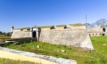 Bastions proctecting the Portas de Olivenca.  Fort Santa Luzia, the greatest preserved fortification of the 17th century worldwide. Elvas in the Alentejo close to the spanish border. Elvas is listed as UNESCO world heritage. Europe, Southern Europe, Portugal, March
