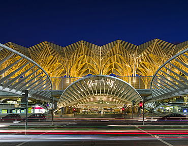Train Station Oriente near the expo 98 area, a masterpiece by architect Santiago Calatrava and one of the symbols of the city.   Lisbon (Lisboa) the capital of Portugal. Europe, Southern Europe, Portugal
