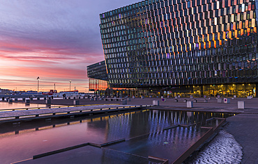 Reykjavik, Harpa, the new concert hall and conference center (inaugurated in 2011). The buidling is  one of the new architectural icons of Iceland. europe, northern europe, iceland,  February