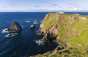 Fair Isle, part of the Shetland Islands, in the far north of Scotland. North Lighthouse, buildt in 1892 by D and C Stevenson. Europe, northern europe, great britain, scotland, Shetland Islands, June