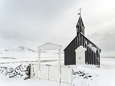The church of  Budir during winter.europe, northern europe, iceland,  March