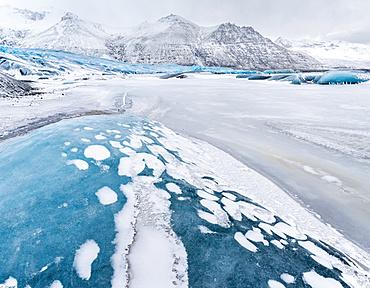 Glacier Skaftafelljoekull in the  Vatnajoekull NP during winter. europe, northern europe, iceland,  February