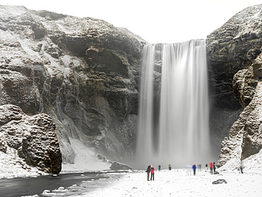 Skogafoss during winter, one of the icons of Iceland. europe, northern europe, iceland,  February