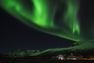 Northern Lights or aurora borealis over Vatnajoekull National Parl during Winter.  europe, northern europe, iceland,  February
