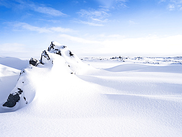 Lava fields in the highlands of Iceland during winter.  europe, northern europe, scandinavia, iceland,  February
