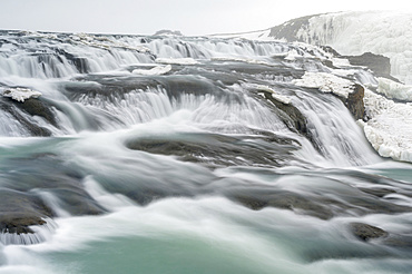 Gullfoss waterfall part of the famous iclandic touristic route Golden Circle during Winter.  europe, northern europe, iceland, march
