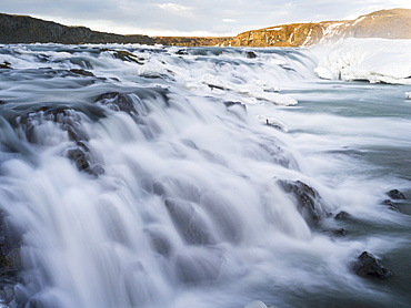 Urridafoss waterfall during winter in river Thorsa.  europe, northern europe, iceland, march