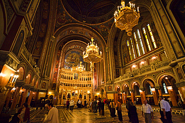 Timisoara in the Banat of Romania, the orthodox cathedral. Indoors with iconostasis, Europe, Eastern Europe, Romania