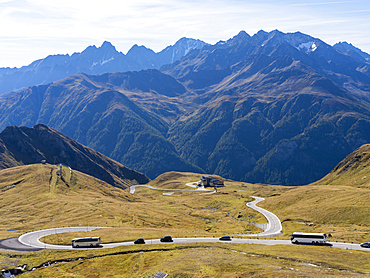 The Grossglockner High Alpine Road is mainly used by tourists and one of the major attractions of the Austrian Alps. ascent to Hochjoch. Europe, Central Europe, Austria, September