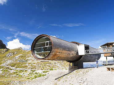 mountain station of Karwendel cablecar with the information center in the Fernrohr (telescope).  Europe, Central Europe, Germany, September