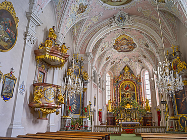 Church of pilgrimage Maria Schnee in valley Lesachtal during Winter, buildt between 1520 and 1552, interior.   Europe, Central Europe, Austria, March