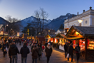 The Christmas Market in Merano, Meran. in the background the texel mountain range in the oetztal alps. Europe, Central Europe, Italy, South Tyrol, December