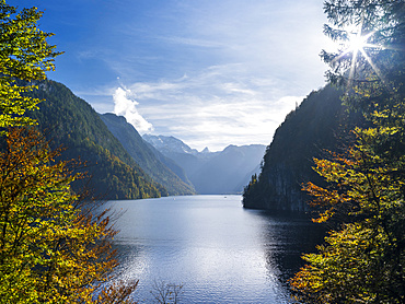Malerwinkel (Painters Corner) at lake Koenigssee in the National Park Berchtesgaden.  Europe, Central Europe, Germany, Bavaria, October