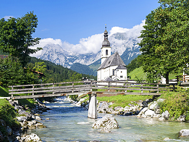 The parish church of Ramsau  in Bavaria. Europe, Central Europe, Germany, Bavaria, August