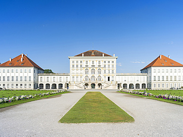 Nymphenburg Palace and Park in Munich. Eastern facade during morning, Munich, Europe, Central Europe, Germany, Bavaria
