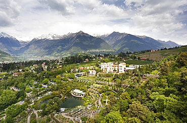 The gardens of Schloss Trauttmansdorff. they are considered to be among the finest gardens or botanical gardens in Italy and europe. They are one of the top tourist attractions around Merano and South Tyrol. Europe, Central Europe, Eastern Alps, South Tyrol, Italy