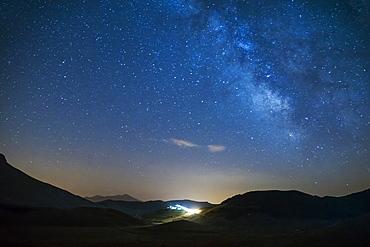 Monti Sibillini National Park, Milky Way, Castelsantangelo sul Nera, Marche, Italy; Europe