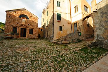 Sant'Agostino square, Verezzi village, ligury, Italy, Europe