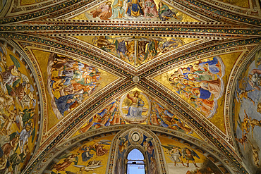 Frescoed ceiling of the Chapel of San Brizio, frescoed mainly by Luca Signorelli and recently restored, Cathedral Basilica of Santa Maria Assunta is the main Catholic place of worship in Orvieto, and a masterpiece of Gothic architecture in Central Italy, Umbria, Italy, Europe