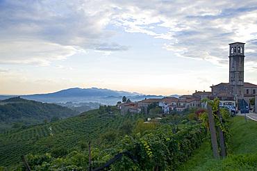 San Pietro di Barbozza church, Vineyards and white wine road, Valdobbiadene, Treviso, Italy, Europe