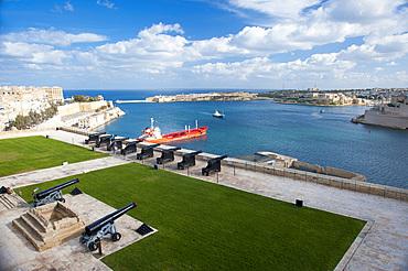 La Valletta, Capital of Culture 2018, Upper Baracca Garden, Grand Harbor; Waterfront, Malta Island, Mediterranean Sea, Europe