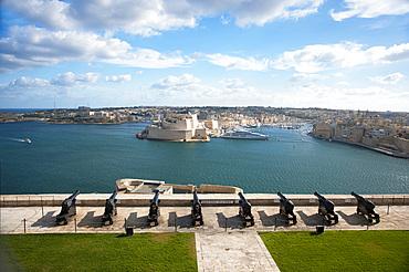 La Valletta, Capital of Culture 2018, Upper Baracca Garden, Grand Harbor; View of Vittoriosa, Malta Island, Mediterranean Sea, Europe