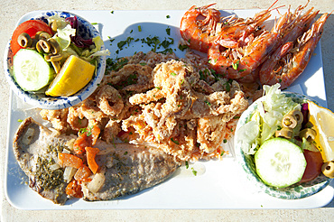 Marsaxlokk, Fried and Grilled Fish, Mr Friz Restaurant in Fishing Port, Malta Island, Mediterranean Sea, Europe