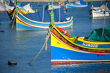 Marsaxlokk, Typical Boat in Fishing Port, Malta Island, Mediterranean Sea, Europe