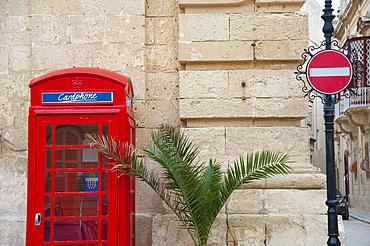Phone Box, Medina, LMdina, Malta Island, Mediterranean Sea, Europe