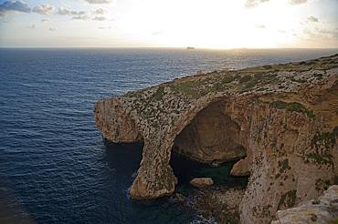 Wied iz-Zurriec, Blue Grotto and Filfola Islet, Malta Island, Mediterranean Sea, Europe