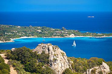 Cala di Volpe Gulf and Capriccioli Beach, Costa Smeralda, Arzachena, Sardinia, Italy, Europe