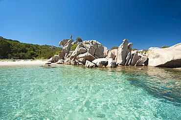 Sassi Piatti, Cala Girgolu, San Teodoro, on background Tavolara Island, Sardinia, Italy, Europe