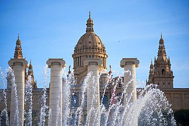 Museu Nacional D'Art de Catalunya, Font màgica de Montjuïc, Barcelona, Catalonia, Spain, Europe