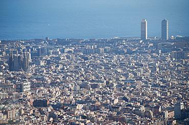 Landscape, view from Tibidabo, Barcelona, Catalonia, Spain, Europe