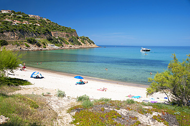 Fautéa beach, Torre Genovese tower, Corsica, France, Europe