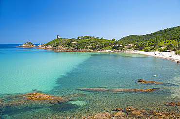 Fautéa beach, Torre Genoese tower, Corsica, France, Europe