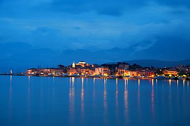 Night view of Saint-Florent, Haute-Corse, Corsica, France, Europe