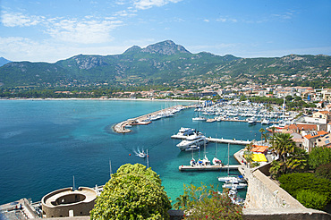 Overview of the Port of Calvì, Corsica, France, Europe