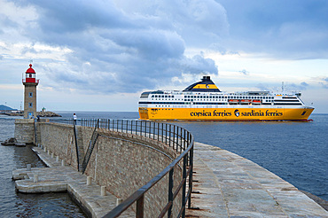 The departure of the ferryboat from Corsica to Italy, Bastia, Corsica, France, Europe