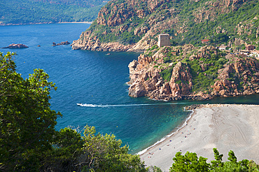 Porto and Genoese tower on rocky headland, Golfe Di Porto, Corsica, France, Europe
