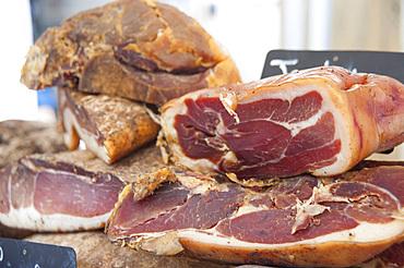 Raw ham, Ajaccio, Corsica, France, Europe