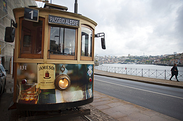 Tram, City Porto (Oporto) at Rio Douro. The old town is listed as UNESCO world heritage. Portugal, Europe
