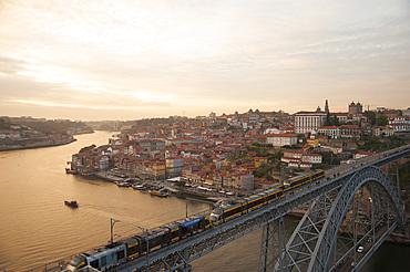 Bridge Ponte Dom Louis I, City Porto (Oporto) at Rio Douro. The old town is listed as UNESCO world heritage. Portugal, Europe