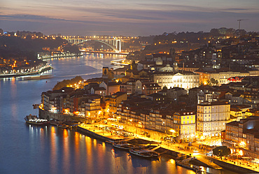 City Porto (Oporto) at Rio Douro. The old town is listed as UNESCO world heritage. In the background the bridge Ponte de Arrabida. Portugal, Europe