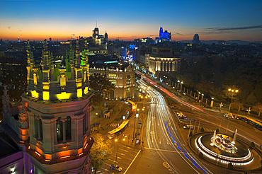 Cityscape, View from Palacio de Comunicaciones, Calle de Alcalà, Madrid, Spain, Europe